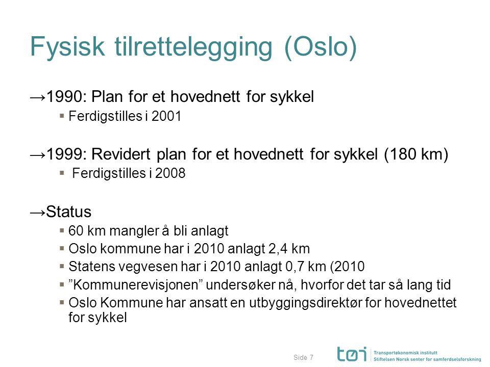 Side Fysisk tilrettelegging (Oslo) →1990: Plan for et hovednett for sykkel  Ferdigstilles i 2001 →1999: Revidert plan for et hovednett for sykkel (18