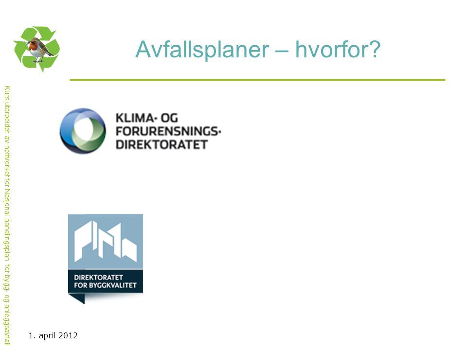 Kurs utarbeidet av nettverket for Nasjonal handlingsplan for bygg- og anleggsavfall Avfallsplaner – hvorfor? 1. april 2012