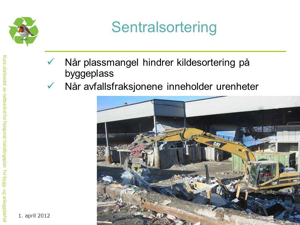 Kurs utarbeidet av nettverket for Nasjonal handlingsplan for bygg- og anleggsavfall Sentralsortering  Når plassmangel hindrer kildesortering på bygge