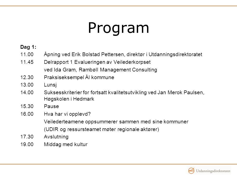 Program Dag 1: 11.00Åpning ved Erik Bolstad Pettersen, direktør i Utdanningsdirektoratet 11.45Delrapport 1 Evalueringen av Veilederkorpset ved Ida Gra