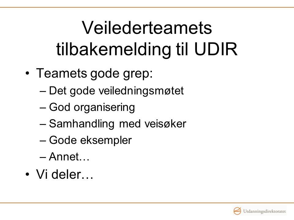 Veilederteamets tilbakemelding til UDIR •Teamets gode grep: –Det gode veiledningsmøtet –God organisering –Samhandling med veisøker –Gode eksempler –Annet… •Vi deler…