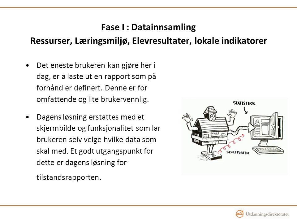 Fase I : Datainnsamling Ressurser, Læringsmiljø, Elevresultater, lokale indikatorer •Det eneste brukeren kan gjøre her i dag, er å laste ut en rapport som på forhånd er definert.