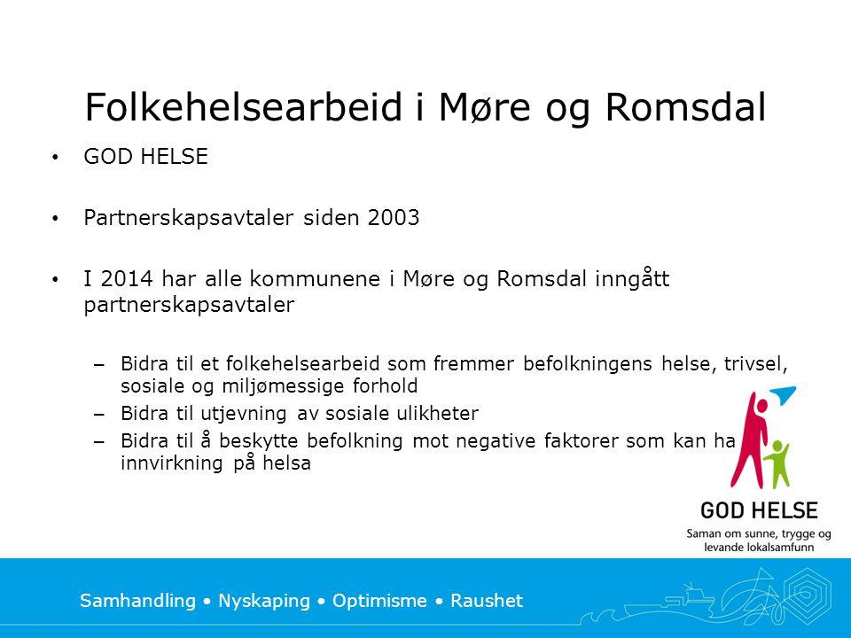 Samhandling • Nyskaping • Optimisme • Raushet Folkehelsearbeid i Møre og Romsdal • GOD HELSE • Partnerskapsavtaler siden 2003 • I 2014 har alle kommun