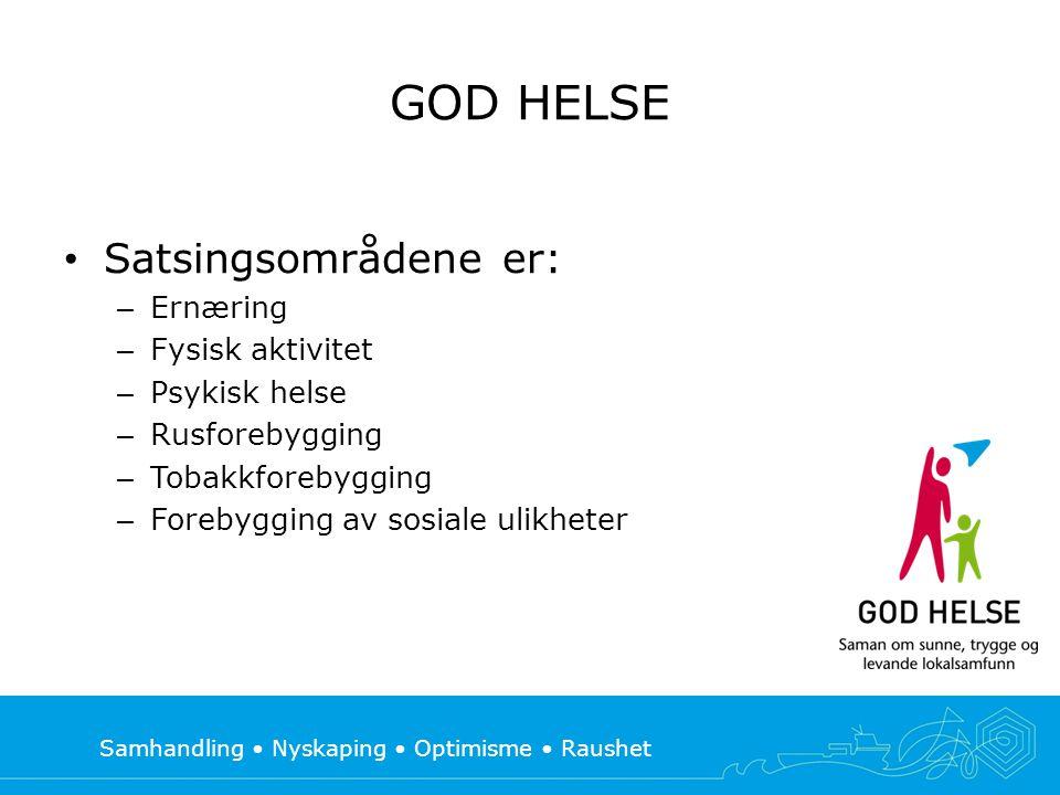 Samhandling • Nyskaping • Optimisme • Raushet GOD HELSE • Satsingsområdene er: – Ernæring – Fysisk aktivitet – Psykisk helse – Rusforebygging – Tobakk