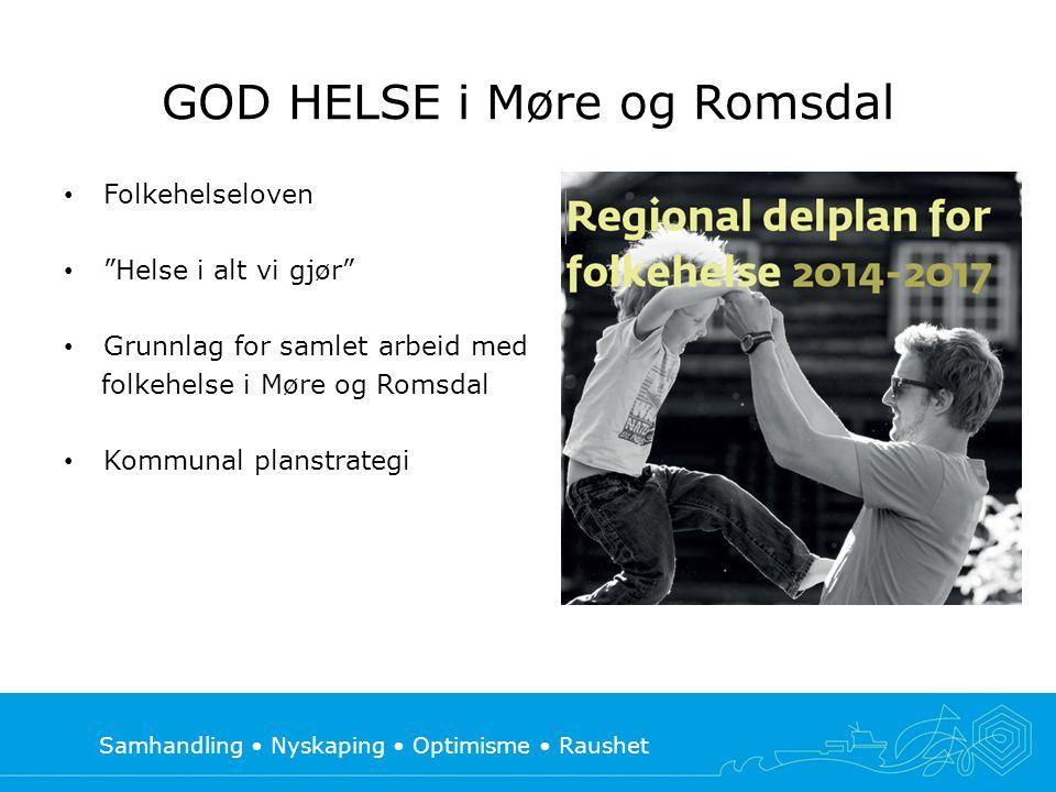 """Samhandling • Nyskaping • Optimisme • Raushet GOD HELSE i Møre og Romsdal • Folkehelseloven • """"Helse i alt vi gjør"""" • Grunnlag for samlet arbeid med f"""