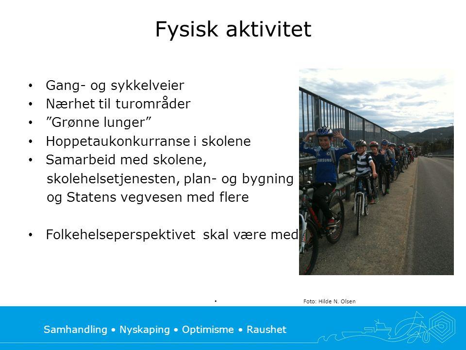 """Samhandling • Nyskaping • Optimisme • Raushet Fysisk aktivitet • Gang- og sykkelveier • Nærhet til turområder • """"Grønne lunger"""" • Hoppetaukonkurranse"""