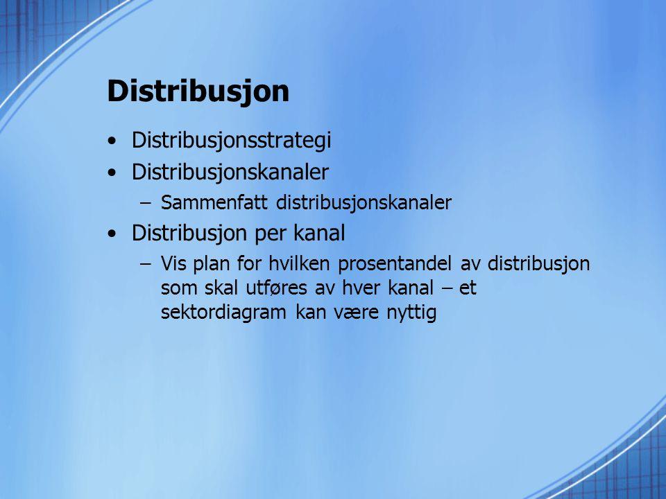 Distribusjon •Distribusjonsstrategi •Distribusjonskanaler –Sammenfatt distribusjonskanaler •Distribusjon per kanal –Vis plan for hvilken prosentandel av distribusjon som skal utføres av hver kanal – et sektordiagram kan være nyttig
