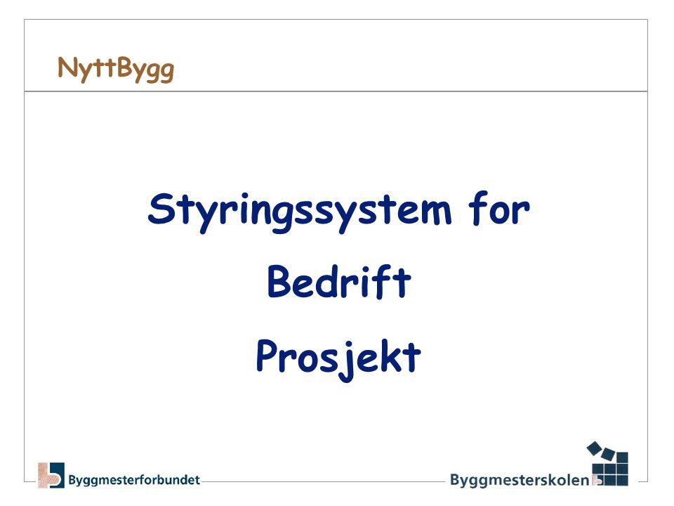NyttBygg •Styringssystem i utvikling •Prosjekter •Bedriftsstyring •Henvendelse mot: •Prosjekterende •Søkeprosessen •Kontraktert •Utførelse (HMS / kontr.