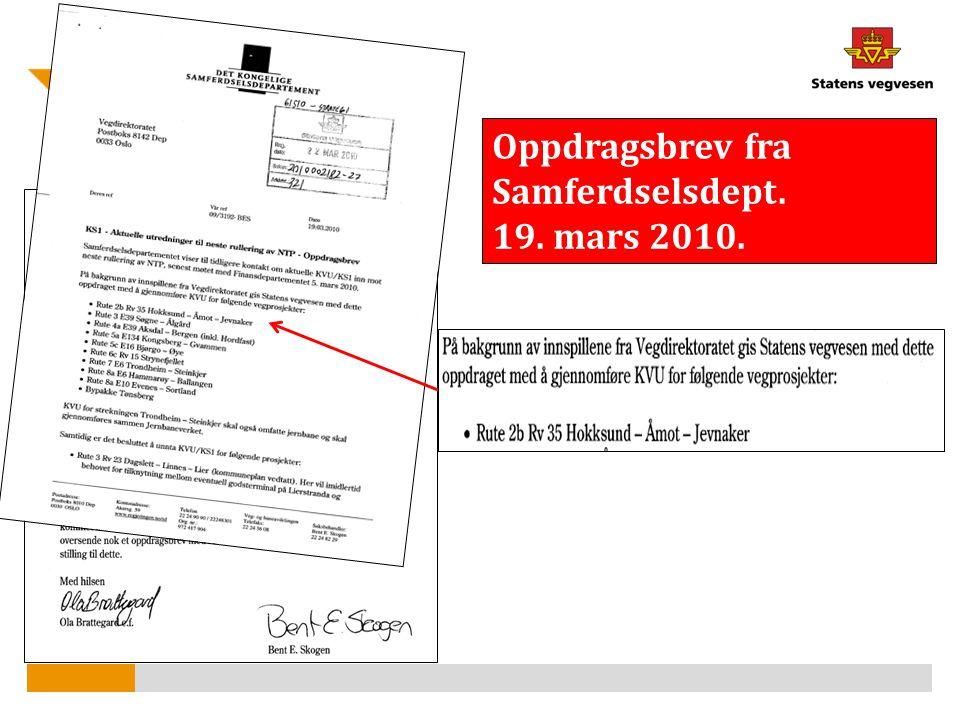Oppdragsbrev fra Samferdselsdept. 19. mars 2010.