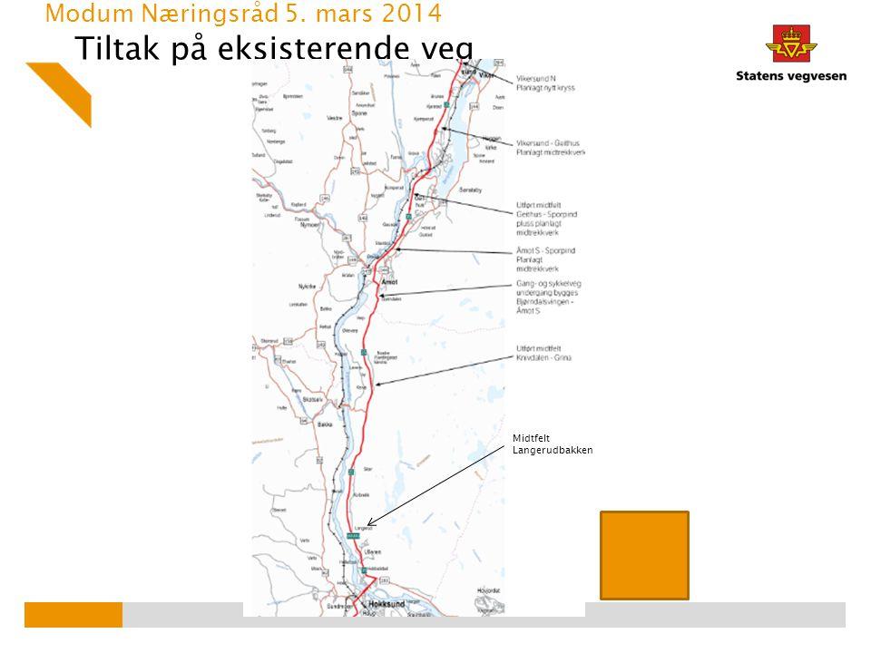 Tiltak på eksisterende veg Modum Næringsråd 5. mars 2014 Midtfelt Langerudbakken
