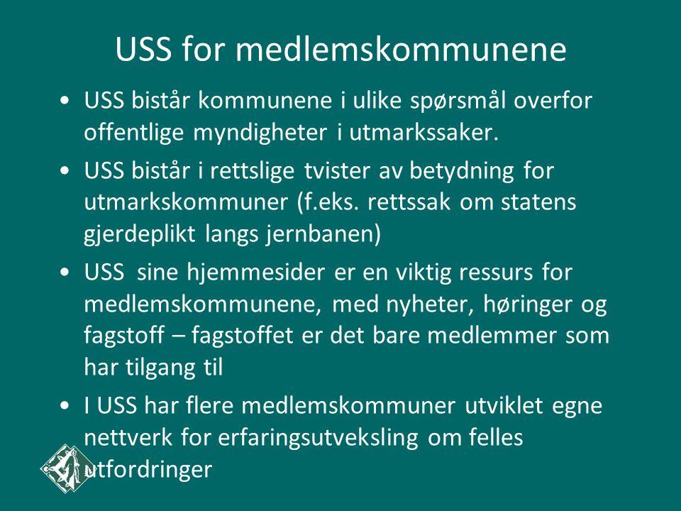USS for medlemskommunene •USS bistår kommunene i ulike spørsmål overfor offentlige myndigheter i utmarkssaker. •USS bistår i rettslige tvister av bety