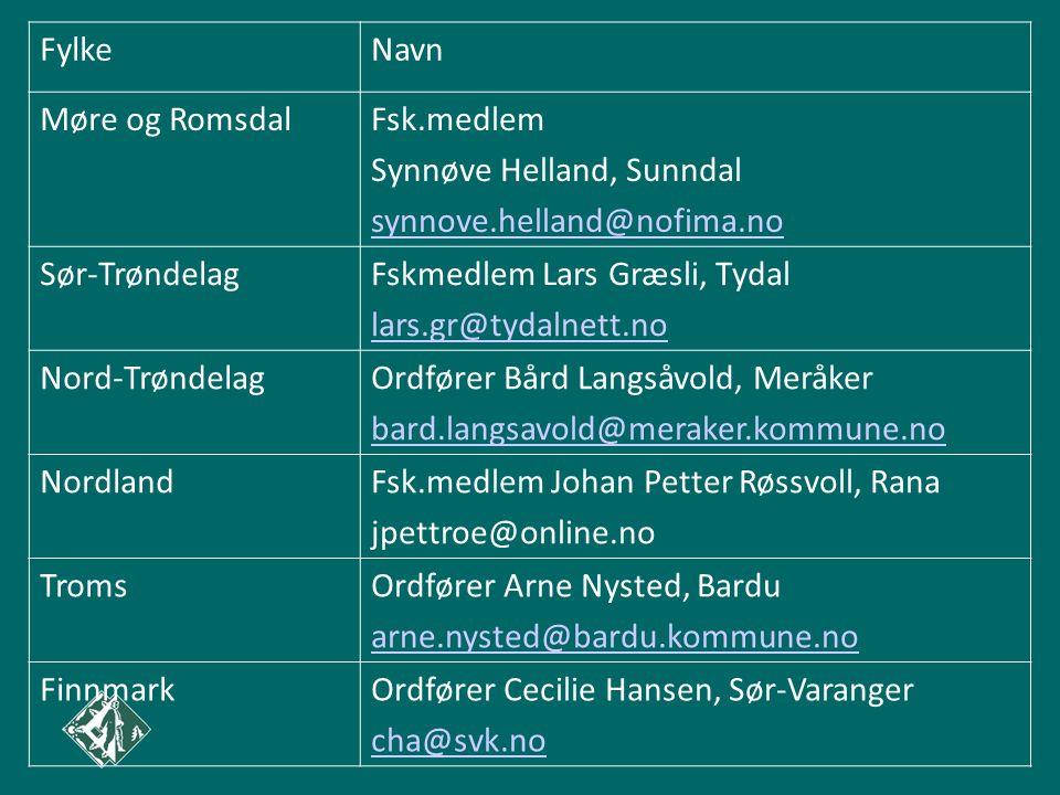 FylkeNavn Møre og RomsdalFsk.medlem Synnøve Helland, Sunndal synnove.helland@nofima.no Sør-TrøndelagFskmedlem Lars Græsli, Tydal lars.gr@tydalnett.no