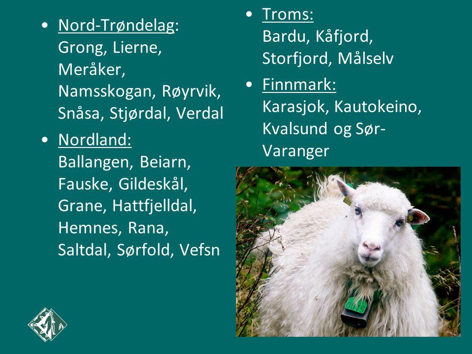 •Nord-Trøndelag: Grong, Lierne, Meråker, Namsskogan, Røyrvik, Snåsa, Stjørdal, Verdal •Nordland: Ballangen, Beiarn, Fauske, Gildeskål, Grane, Hattfjel