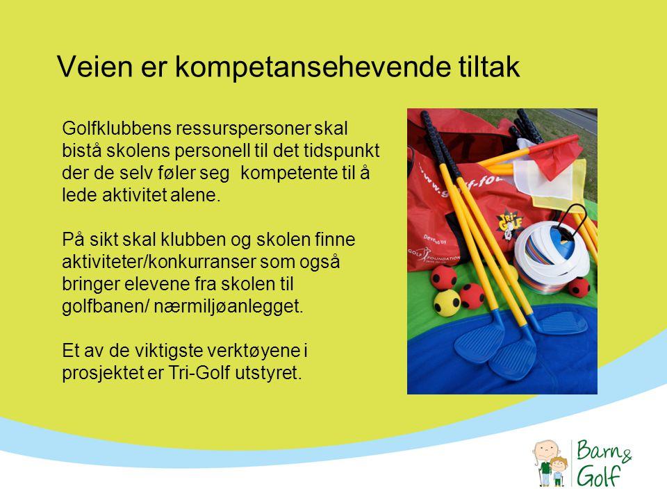Veien er kompetansehevende tiltak Golfklubbens ressurspersoner skal bistå skolens personell til det tidspunkt der de selv føler seg kompetente til å lede aktivitet alene.