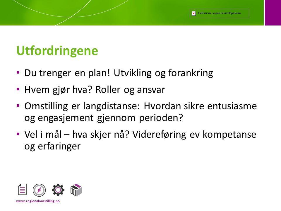 Avklaringsfasen Strategi- og forankringsfasen Gjennomføringsfasen Avslutningsfasen Fire faser www.regionalomstilling.no