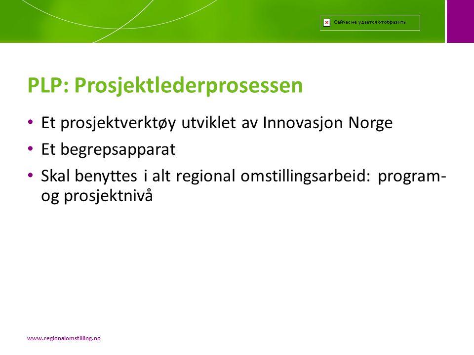 • Et prosjektverktøy utviklet av Innovasjon Norge • Et begrepsapparat • Skal benyttes i alt regional omstillingsarbeid: program- og prosjektnivå PLP: Prosjektlederprosessen www.regionalomstilling.no