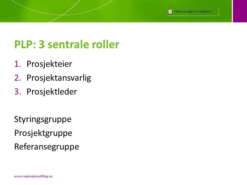 1.Prosjekteier 2.Prosjektansvarlig 3.Prosjektleder Styringsgruppe Prosjektgruppe Referansegruppe PLP: 3 sentrale roller www.regionalomstilling.no