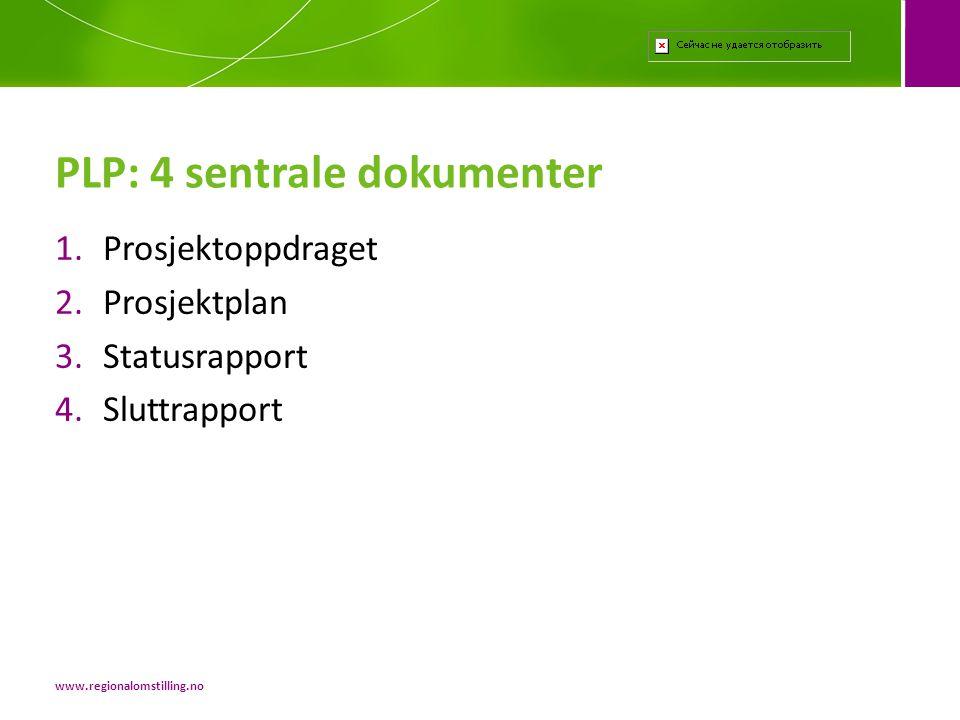 1.Prosjektoppdraget 2.Prosjektplan 3.Statusrapport 4.Sluttrapport PLP: 4 sentrale dokumenter www.regionalomstilling.no