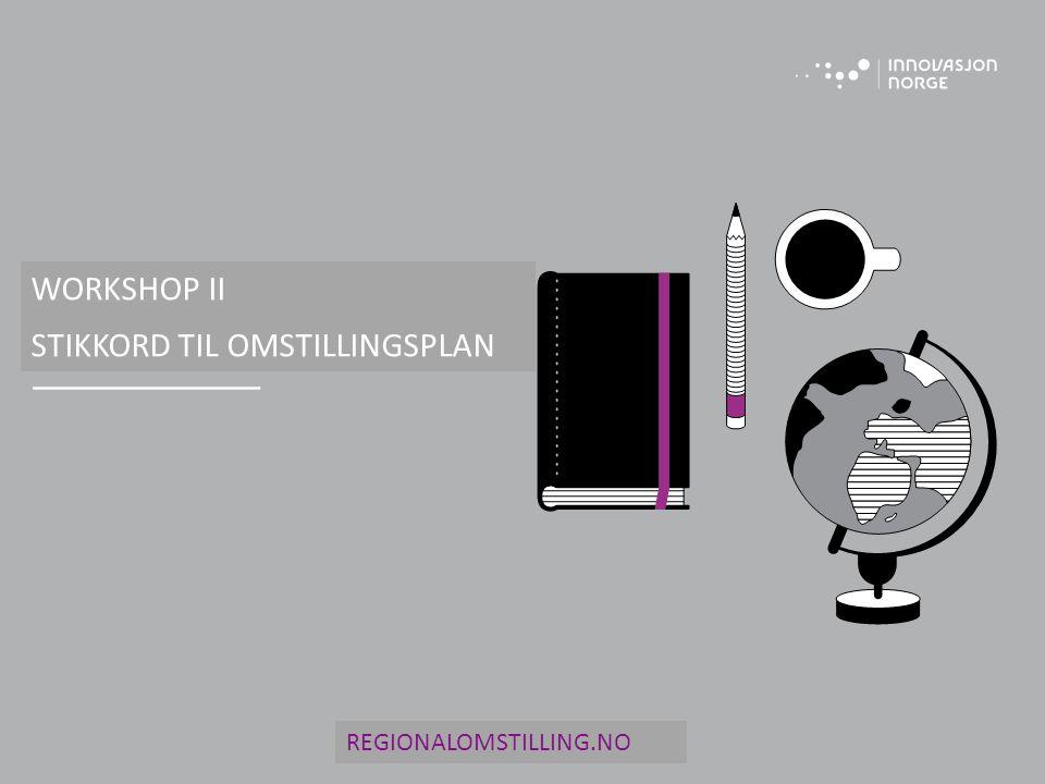 WORKSHOP II STIKKORD TIL OMSTILLINGSPLAN REGIONALOMSTILLING.NO
