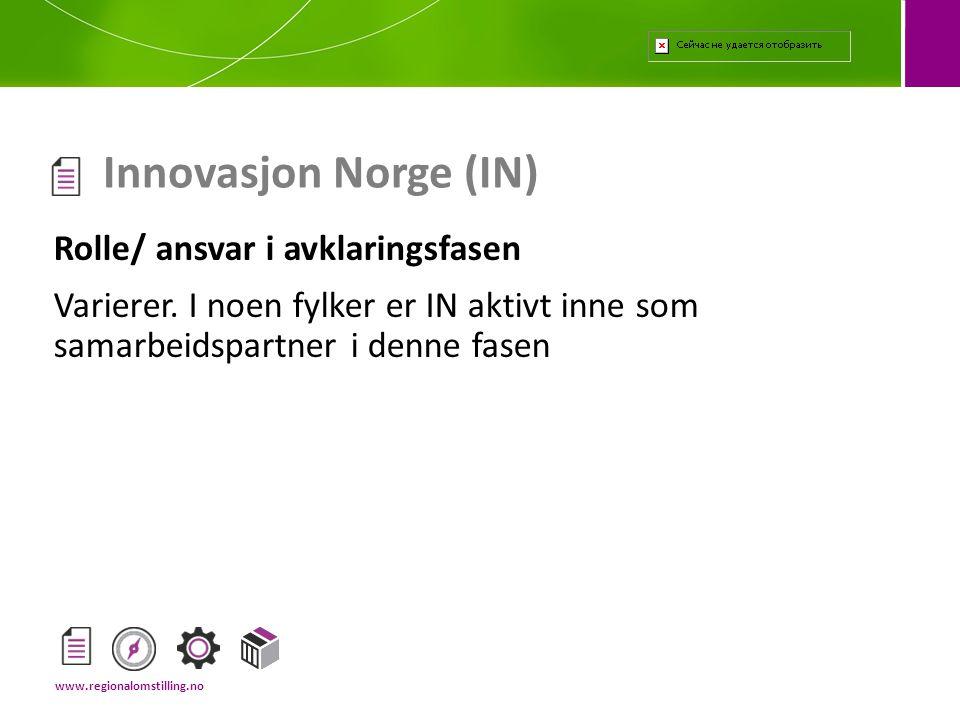 Rolle/ ansvar i avklaringsfasen Varierer. I noen fylker er IN aktivt inne som samarbeidspartner i denne fasen Innovasjon Norge (IN) www.regionalomstil