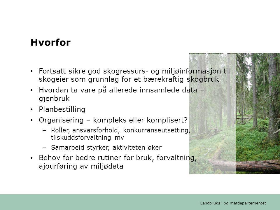 Landbruks- og matdepartementet Arbeidsgruppens tilrådinger • Kravet til god miljø- og ressurskunnskap tilsier at skogbruksplanleggingen bør videreføres • Ulike utfordringer krever ulike løsninger i ulike regioner – dagens modell videreføres i skogstrøkene – statlig heldekkende skogressurskartlegging i kyststrøk, for skogbruksplanmidler • Viktig å sikre god kvalitet på miljødata og sikre reell åpen tilgang til miljødata – styrke Kilden • Forslag om å etablere et Råd for skogbruksplanlegging