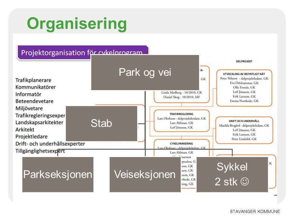 STAVANGER KOMMUNE Organisering Park og vei ParkseksjonenVeiseksjonen Sykkel 2 stk  Stab