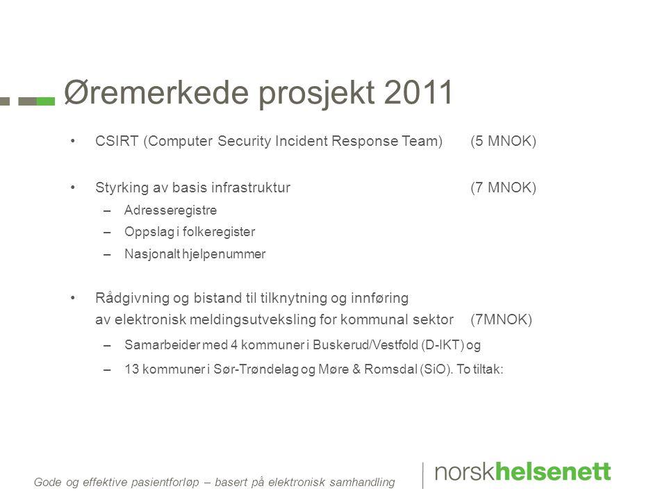 Gode og effektive pasientforløp – basert på elektronisk samhandling Øremerkede prosjekt 2011 •CSIRT (Computer Security Incident Response Team)(5 MNOK)