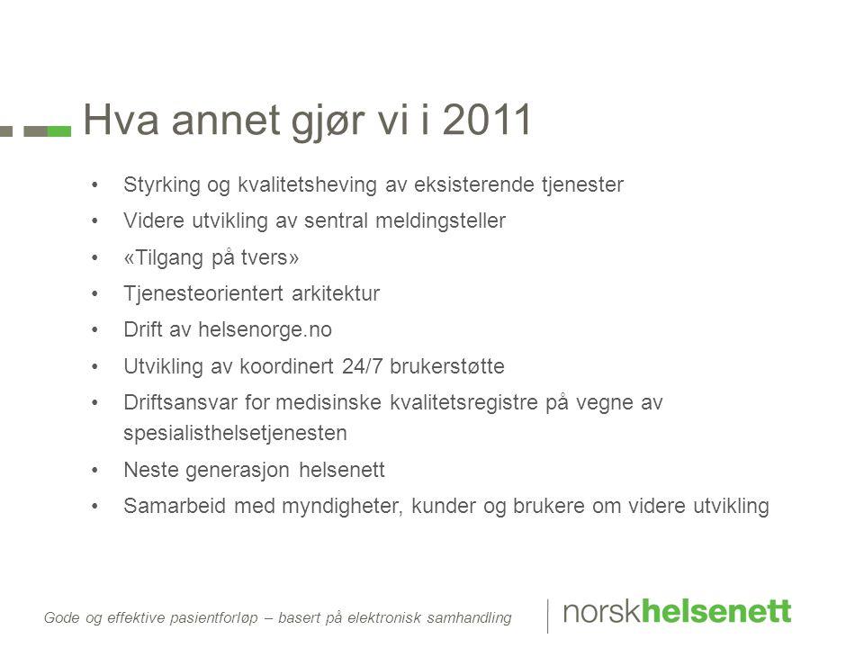 Gode og effektive pasientforløp – basert på elektronisk samhandling Hva annet gjør vi i 2011 •Styrking og kvalitetsheving av eksisterende tjenester •V