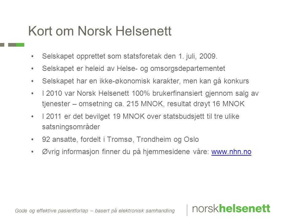 Gode og effektive pasientforløp – basert på elektronisk samhandling Kort om Norsk Helsenett •Selskapet opprettet som statsforetak den 1. juli, 2009. •