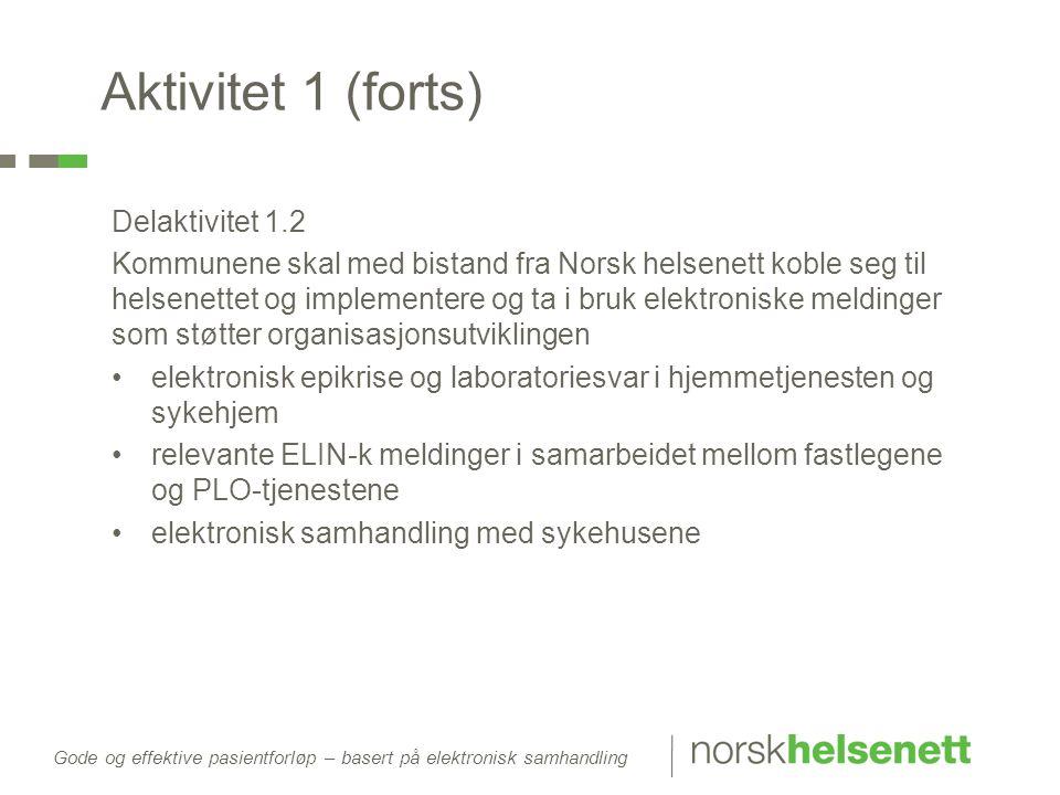 Aktivitet 1 (forts) Delaktivitet 1.2 Kommunene skal med bistand fra Norsk helsenett koble seg til helsenettet og implementere og ta i bruk elektronisk