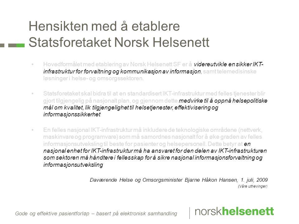 Gode og effektive pasientforløp – basert på elektronisk samhandling Hensikten med å etablere Statsforetaket Norsk Helsenett •Hovedformålet med etabler
