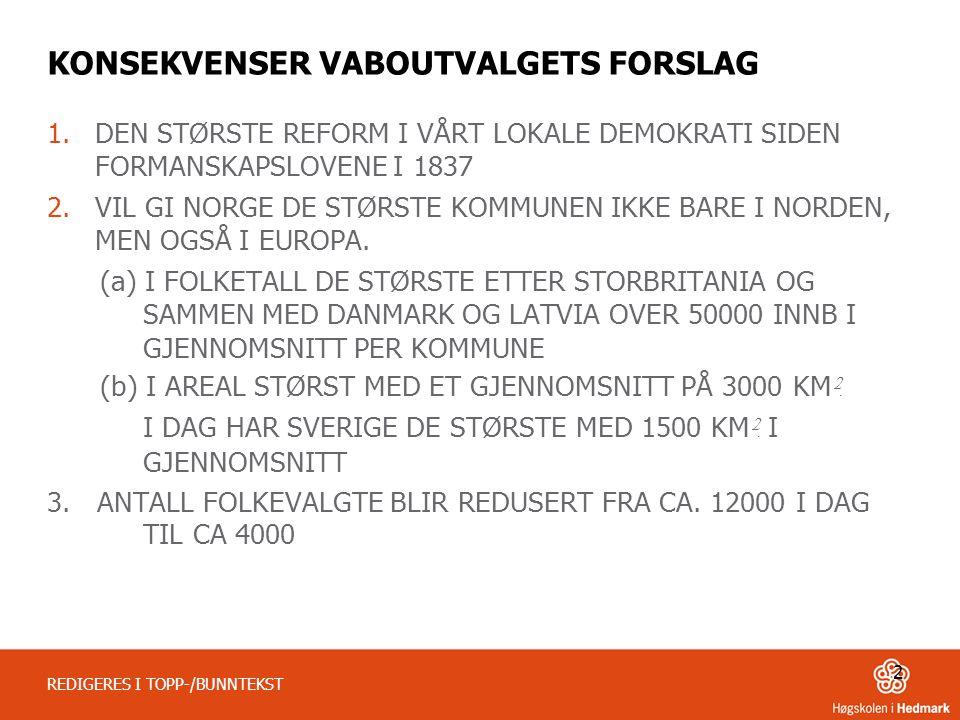 KONSEKVENSER VABOUTVALGETS FORSLAG 1.DEN STØRSTE REFORM I VÅRT LOKALE DEMOKRATI SIDEN FORMANSKAPSLOVENE I 1837 2.VIL GI NORGE DE STØRSTE KOMMUNEN IKKE BARE I NORDEN, MEN OGSÅ I EUROPA.