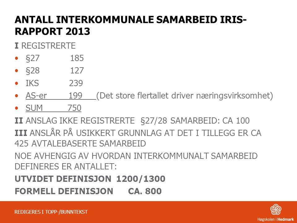 ANTALL INTERKOMMUNALE SAMARBEID IRIS- RAPPORT 2013 I REGISTRERTE •§27 185 •§28 127 •IKS 239 •AS-er 199 (Det store flertallet driver næringsvirksomhet)