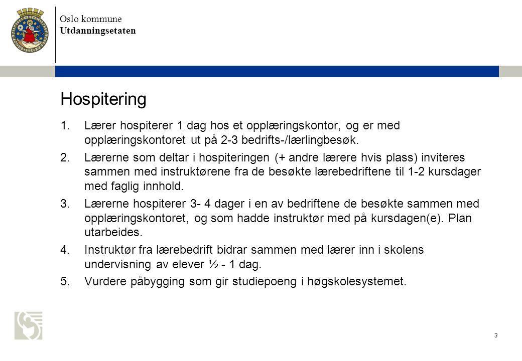 Oslo kommune Utdanningsetaten Hospitering 1.Lærer hospiterer 1 dag hos et opplæringskontor, og er med opplæringskontoret ut på 2-3 bedrifts-/lærlingbesøk.