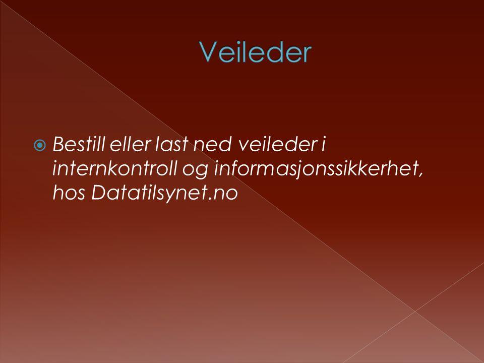  Bestill eller last ned veileder i internkontroll og informasjonssikkerhet, hos Datatilsynet.no
