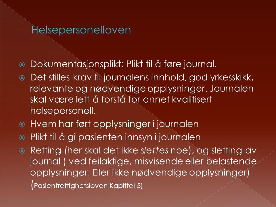  Dokumentasjonsplikt: Plikt til å føre journal.  Det stilles krav til journalens innhold, god yrkesskikk, relevante og nødvendige opplysninger. Jour