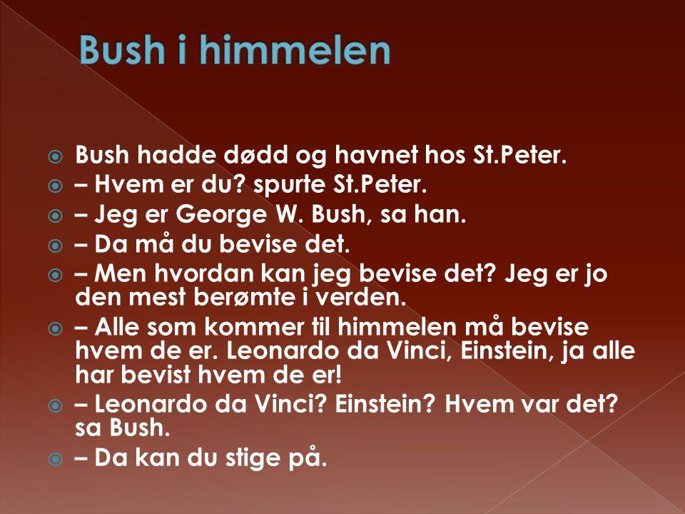  Bush hadde dødd og havnet hos St.Peter.  – Hvem er du? spurte St.Peter.  – Jeg er George W. Bush, sa han.  – Da må du bevise det.  – Men hvordan