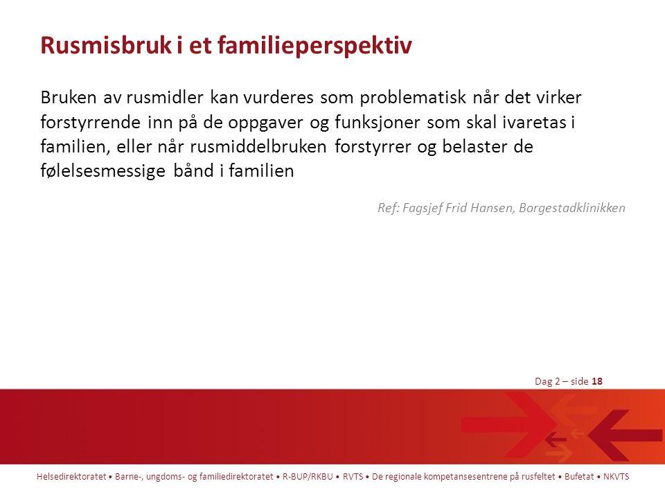 Helsedirektoratet • Barne-, ungdoms- og familiedirektoratet • R-BUP/RKBU • RVTS • De regionale kompetansesentrene på rusfeltet • Bufetat • NKVTS Dag 2