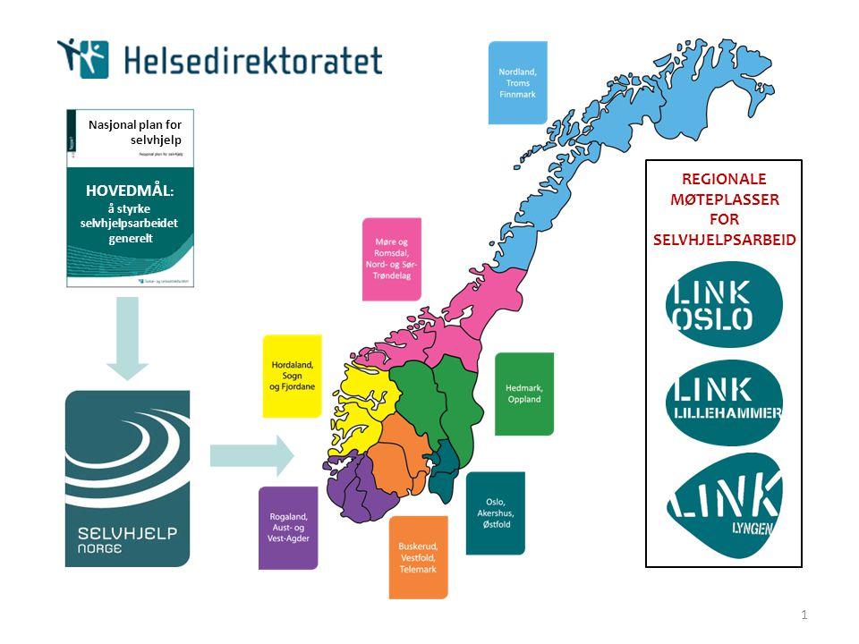 1 Nasjonal plan for selvhjelp HOVEDMÅL : å styrke selvhjelpsarbeidet generelt REGIONALE MØTEPLASSER FOR SELVHJELPSARBEID