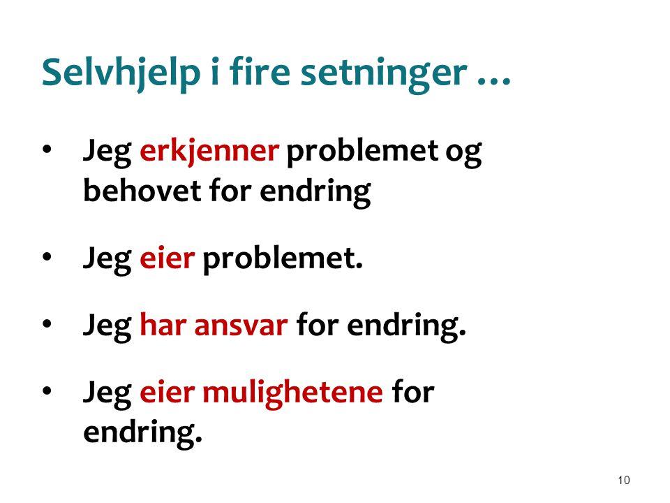 10 Selvhjelp i fire setninger … • Jeg erkjenner problemet og behovet for endring • Jeg eier problemet. • Jeg har ansvar for endring. • Jeg eier muligh