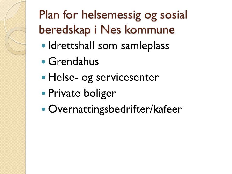 Plan for helsemessig og sosial beredskap i Nes kommune  Idrettshall som samleplass  Grendahus  Helse- og servicesenter  Private boliger  Overnatt