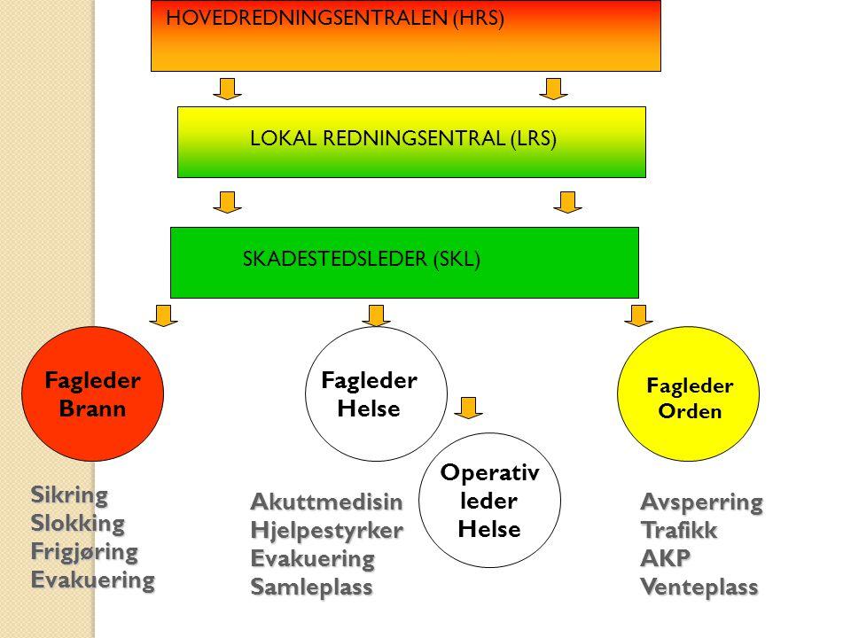 SikringSlokkingFrigjøringEvakuering HOVEDREDNINGSENTRALEN (HRS) LOKAL REDNINGSENTRAL (LRS) SKADESTEDSLEDER (SKL) Fagleder Brann Fagleder Helse Faglede