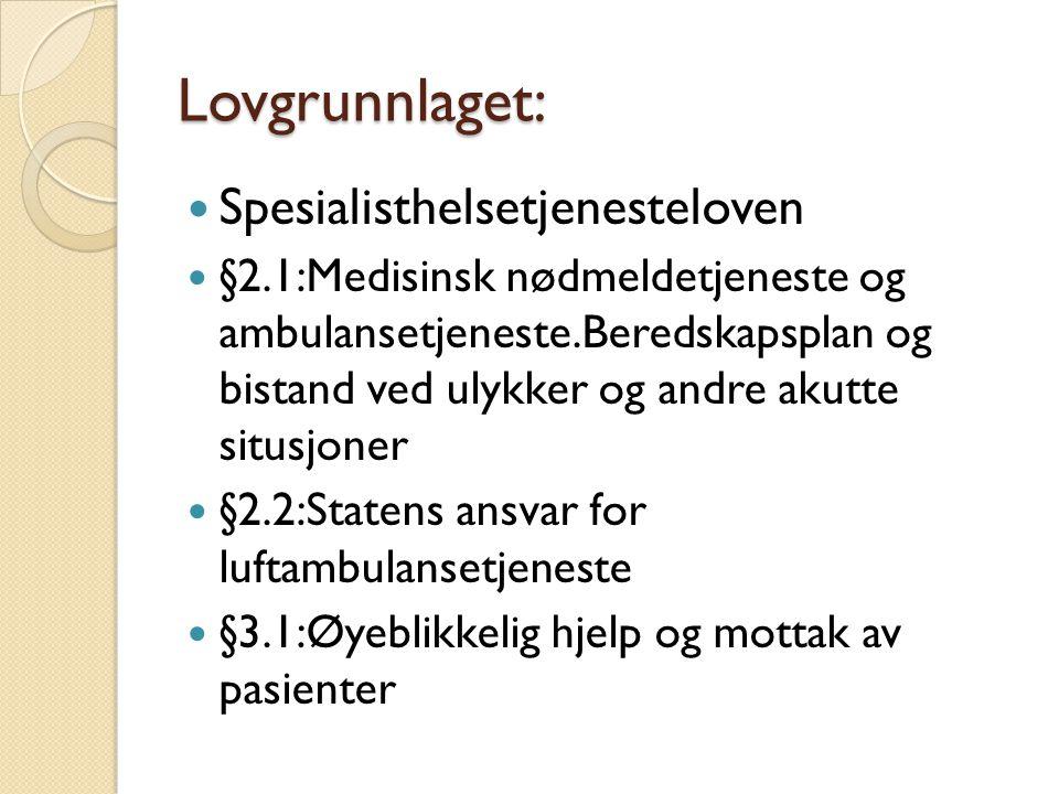 Lovgrunnlaget: Lovgrunnlaget: Lov om helsemessig og sosial beredskap  Forskrift om krav til beredskapsplanlegging og beredskapsarbeid m.v.