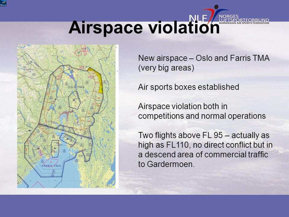 Airspace violation New airspace – Oslo and Farris TMA (very big areas) Air sports boxes established Airspace violation both in competitions and normal