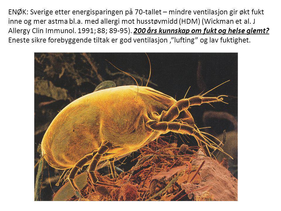 ENØK: Sverige etter energisparingen på 70-tallet – mindre ventilasjon gir økt fukt inne og mer astma bl.a. med allergi mot husstøvmidd (HDM) (Wickman