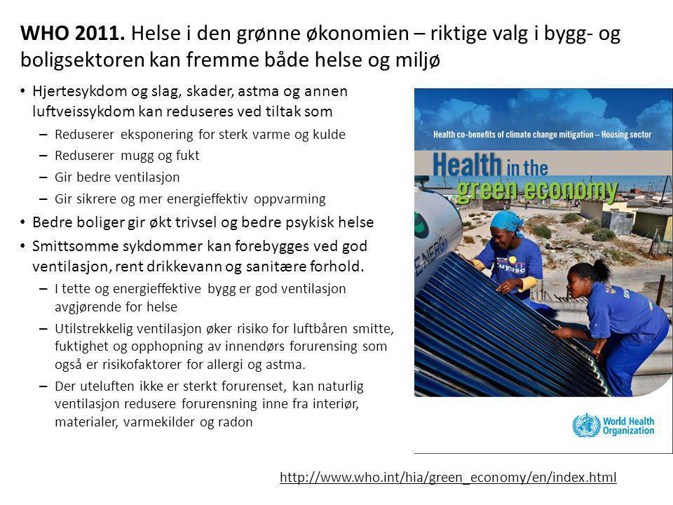 WHO 2011. Helse i den grønne økonomien – riktige valg i bygg- og boligsektoren kan fremme både helse og miljø • Hjertesykdom og slag, skader, astma og