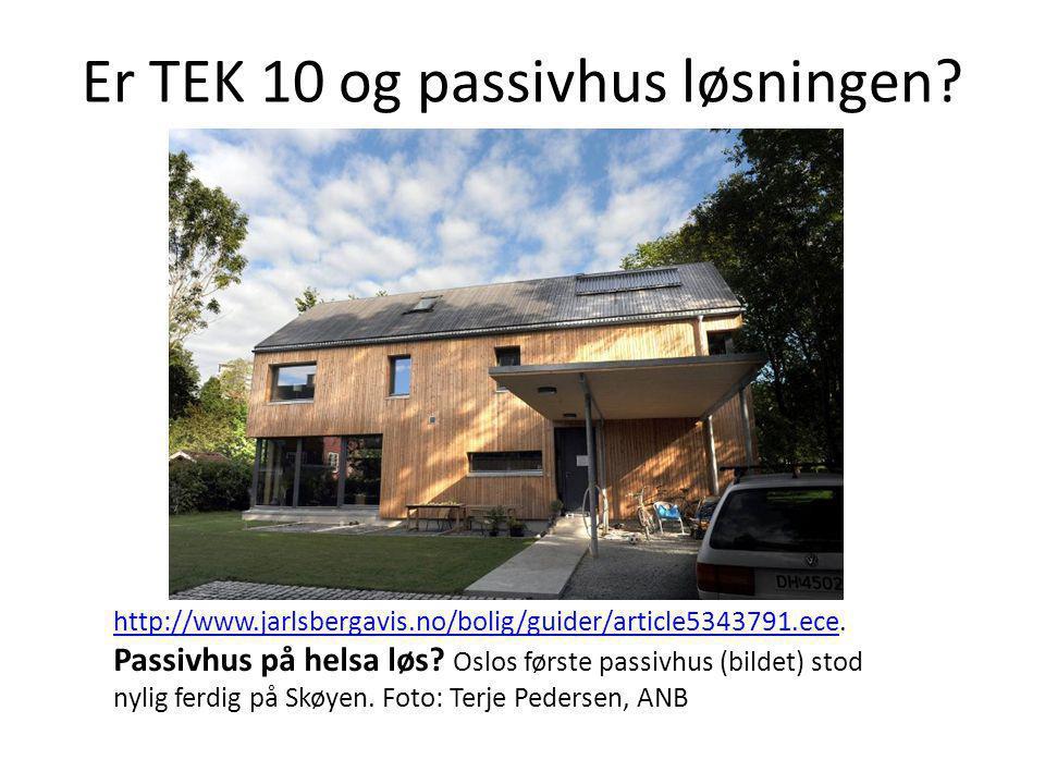 Er TEK 10 og passivhus løsningen? http://www.jarlsbergavis.no/bolig/guider/article5343791.ecehttp://www.jarlsbergavis.no/bolig/guider/article5343791.e