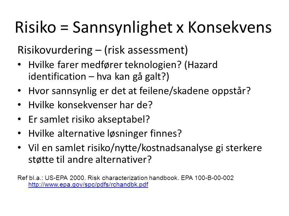 Risiko = Sannsynlighet x Konsekvens Risikovurdering – (risk assessment) • Hvilke farer medfører teknologien? (Hazard identification – hva kan gå galt?
