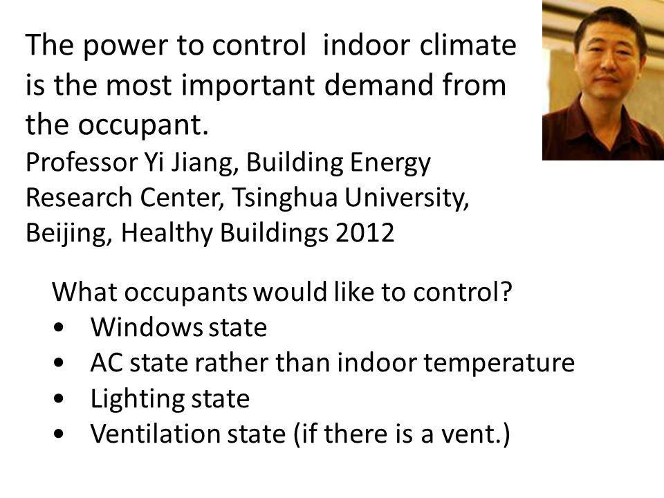 The power to control indoor climate is the most important demand from the occupant. Professor Yi Jiang, Building Energy Research Center, Tsinghua Univ