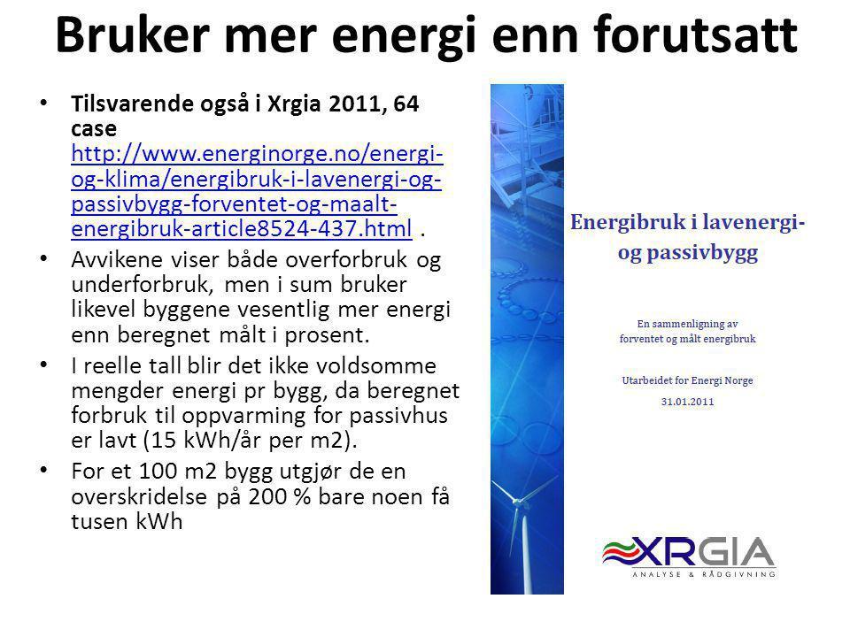 Bruker mer energi enn forutsatt • Tilsvarende også i Xrgia 2011, 64 case http://www.energinorge.no/energi- og-klima/energibruk-i-lavenergi-og- passivb